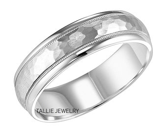 6mm,10K,14K,18K Solid White Gold  Wedding Band, Milgrain Hammered Finish Mens Wedding Ring, Mens Wedding Band, Gold Ring