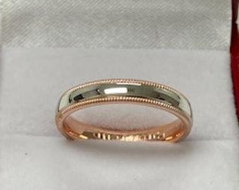 4mm 10K 14K 18K Solid White and Rose Gold Wedding Band, Rigs for Women, Rings for Men, Two Tone Gold Wedding Band, Plain Wedding Rings