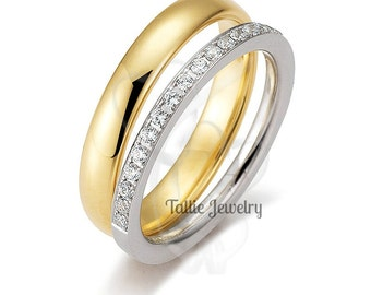 His & Hers Wedding Rings, 10K 14K 18K White and Yellow Gold Diamond Wedding Bands, Matching Wedding Rings Set, His and Hers Wedding Bands