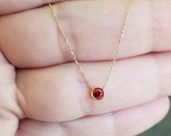 14K Gold Solitaire Necklace ,0.20ct Natural Red Garnet Solitaire Necklace, January Birthstone , Bezel Solitaire Necklace, Garnet Gemstone