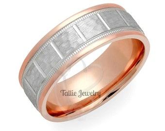 Hammered Finish Platinum Mens Wedding Bands, Platinum & 14K Solid Rose Gold Mens Wedding Rings,  Two Tone Gold Wedding Bands