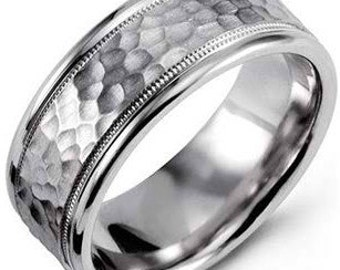 White Gold Mens Wedding Rings, Milgrain Hammered Finish Mens Wedding Bands, 8mm 10K 14K 18K Solid Gold Wedding Ring