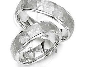 His & Hers Wedding Bands, Matching Wedding Rings Set, 10K 14K 18K Solid White Gold Hammered Finish Wedding Bands,