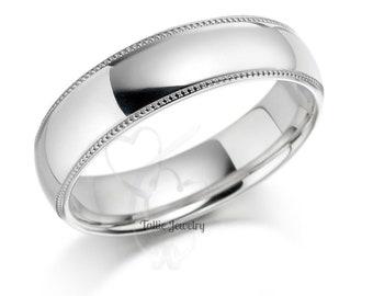 Platinum Wedding Band,  Platinum Wedding Ring, Platinum Mens Wedding Bands, Platinum Mens Wedding Ring, 6mm Dome Plain Platinum Wedding Band
