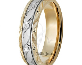 Two Tone Gold Wedding Bands, Hand Engraved Mens Wedding Ring ,10K 14K 18K White & Yellow Gold Hand Engraved Mens Wedding Band