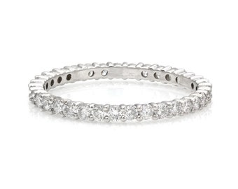 Diamond Eternity Ring, Diamond Eternity Wedding Band, 14K White Gold Diamond Rings, 0.70ct 1.9mm Womens Diamond Wedding Ring, Ring for Women