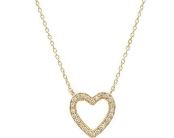 14K Gold Diamond Heart Necklace / Diamond Heart Necklace / Solid Yellow Gold Heart Necklace