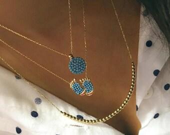 Turquoise Circle Necklace  / Beaded Turquoise  Necklace / 14K Solid Yellow Gold Turquoise Necklace