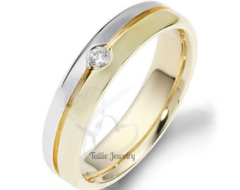 Two Tone Gold Wedding Bands, 5mm,10K 14K 18K White and Yellow Gold Mens Wedding Rings, Diamond Wedding Bands, His & Hers Wedding Rings