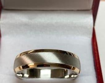 18K Solid Yellow Gold and Platinum Wedding Band, Platinum Wedding Ring, Brushed Finish Mens Wedding Bands, 950 Platinum Band