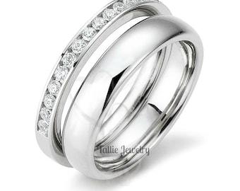 His & Hers Wedding Bands,Matching Wedding Rings,10K 14K 18K White Gold Diamond Eternity Wedding Bands, Diamond Eternity Wedding Rings