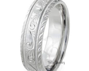 7mm 10K 14K 18K Solid Gold Hand Engraved Wedding Ring for Men & Women,  Hand Engraved Mens Wedding Band,  Engraved Rings