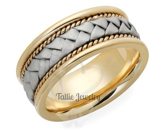 Two Tone Gold Mens Wedding Ring, Handmade Braided Mens Wedding Band, 8mm 10K 14K 18K Solid White and Yellow Gold Mens Wedding Rings