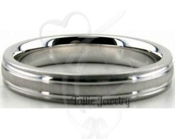 Mens Womens Platinum Wedding Ring , Platinum Wedding Band , 4mm Brushed Finish Platinum Rings