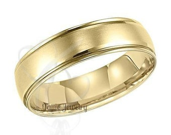 6mm 10K 14K 18K Solid Yellow Gold Mens Wedding Bands, Satin Finish Mens Gold Wedding Rings, Matching Wedding Bands, His &Hers Wedding Rings