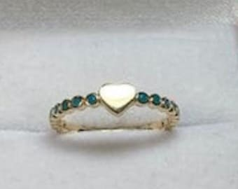 14K Gold Heart Ring, Dainty Heart Ring, Turquoise Heart Ring, Minimalist Heart Ring, Stacking Ring