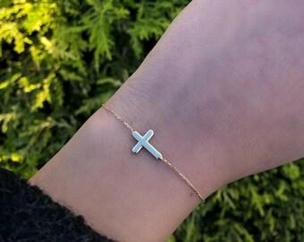 Cross Bracelet, 14K Gold Cross Bracelet, Sideways Cross Bracelet, Dainty Cross Bracelet, Gold Cross Necklace, Plain Cross Bracelet