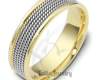 Platinum & 18K Solid Yellow Gold Braided Wedding Ring, Two Tone Gold Wedding Bands, Platinum Mens Wedding Rings