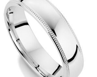 White Gold Mens Wedding Ring, Milgrain Shiny Finish Mens Wedding Band, His & Hers Wedding Rings, Matching Wedding Bands