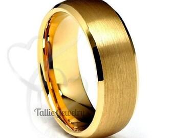 7mm 10K 14K 18K Solid Yellow Gold Wedding Band, Beveled Edge Satin Finish Mens Wedding Ring, Matching Wedding Bands,His & Hers Wedding Rings
