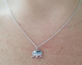 Elephant Necklace, 14K Gold Diamond Elephant Necklace, Diamond Elephant Necklace, Dainty Small Elephant, Elephant Pendant, Mini Elephant