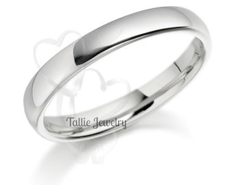 3mm 14K Solid White Gold Wedding Bands, Shiny Finish Mens and Womens Wedding Rings, Matching Wedding Bands, His & Hers Wedding Rings