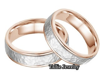 His & Hers Wedding Rings, Matching Wedding Bands ,14K Solid White and Rose Gold Hammered Finish Wedding Rings, Two Tone Gold Wedding Bands