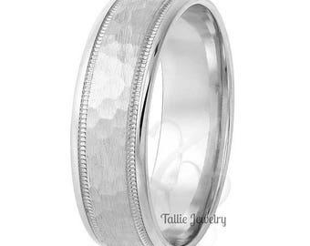 6mm 10K 14K 18K Solid White Gold Mens Wedding Bands,  Hammered Finish Mens Wedding Rings