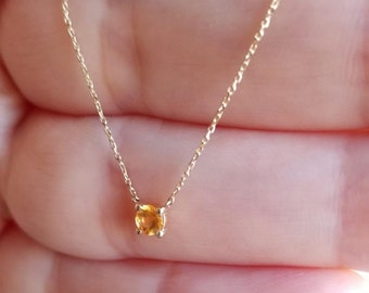14K Gold Solitaire Necklace, 0.20ct Natural Yellow Citrine Solitaire Necklace ,November Birthstone, Prong Setting Solitaire Necklace
