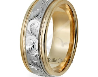 Hand Engraved Gold Wedding Bands, Hand Engraved Gold Wedding Rings, Two Tone Gold Wedding Bands,14K White and Yellow Gold Mens Wedding Rings