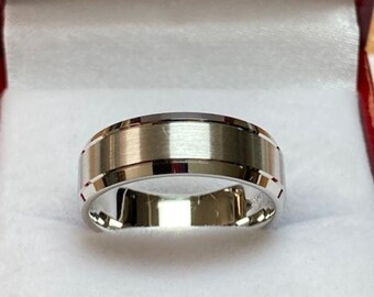 14K Solid White Gold Mens Wedding Band, Satin Finish Mens Wedding Ring, 6mm 10K 14K 18K Solid White Gold Wedding Bands