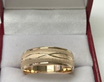 Yellow Gold Mens Wedding Band, Brushed Finish Mens Wedding Ring, 7mm 10K 14K 18K Solid Yellow Gold Wedding Bands, Rings for Men