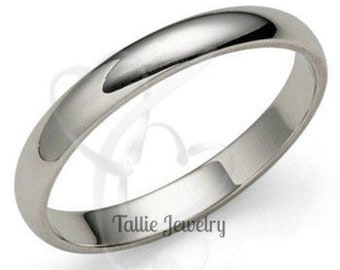 Mens Womens Platinum Wedding Rings , Plain Platinum Wedding Bands, 3mm Shiny Finish Platinum Ring, Platinum Band