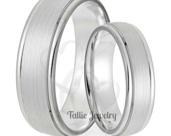 Platinum His & Hers Wedding Rings,  Platinum Matching Wedding Rings Set,  Platinum Wedding Bands, Platinum Wedding Rings