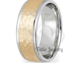 Two Tone Gold Wedding Bands,7mm 10K 14K 18K Solid White and Yellow Gold Mens Wedding Ring, Hammered Finish Mens Wedding Band