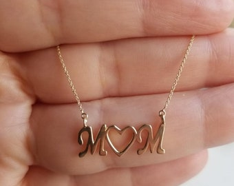 14K Yellow Gold Heart Necklace, Solid Gold Mom Necklace, Letter Necklace, Mother's Day Gift, Mama Necklace