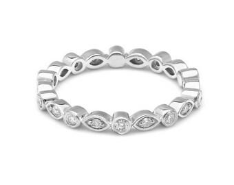 14K Solid White Gold Diamond Ring / Diamond Eternity Wedding Band / Womens Diamond Wedding Rings / Anniversary Wedding Bands  /