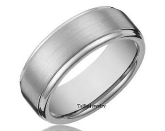 8mm,10K 14K 18K Solid Gold Mens Wedding Rings,  Satin Finish Mens Wedding Bands, White Gold Wedding Rings, His & Hers Wedding Bands
