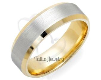 Two Tone Wedding Bands, 6mm 10K 14K 18K White and Yellow Gold Satin Finish Beveled Edge Mens Wedding Rings, Two Tone Gold Wedding Bands
