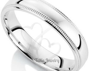 Platinum Wedding Band , Platinum Wedding Ring  ,4mm Milgrain Shiny Finish Mens Womens Platinum Wedding Rings