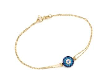 Yellow Gold Evil Eye Bracelet,14K Solid Yellow Gold Evil Eye Bracelet, Dainty Evil Eye Bracelet, Evil Eye Bracelet with Turquoise Stones