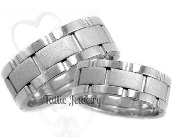 Platinum His & Hers Wedding Bands, Platinum Wedding Rings Set , Platinum Wedding Bands, Matching Wedding Rings, His and Hers Wedding Bands