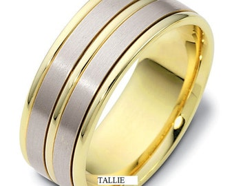 Two Tone Gold Wedding Bands, 8mm 10K 14K 18K White and Yellow Gold Mens Wedding Rings, Two Tone Gold Mens Wedding Bands, Mens Wedding Rings