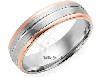Two Tone Wedding Bands, 6mm 10K 14K 18K White and Rose Gold Satin Finish Mens or Womens Wedding Rings, Two Tone Gold Wedding Bands