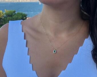 Emerald Necklace, 14K Gold Emerald Necklace, Diamond CZ Emerald Necklace, Emerald Necklace, Solid Gold Emerald Necklace,