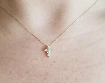 Diamond Cross Necklace, 14K Gold Diamond Cross Necklace, Small Cross Necklace, Dainty Cross Necklace, Mini Cross, Minimalist Dainty Cross