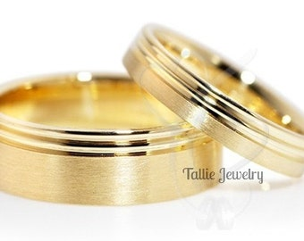 10K 14K 18K Solid Yellow Gold Wedding Bands, His & Hers Wedding Rings, Matching Wedding Bands