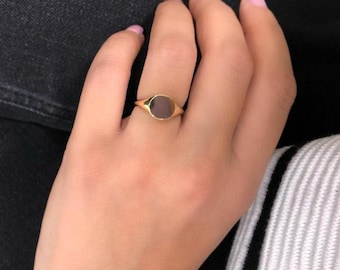 Signet Ring, 14K Solid Yellow Gold Signet Ring,  Engraved Signet Ring, Womens Signet Ring, Statement Ring