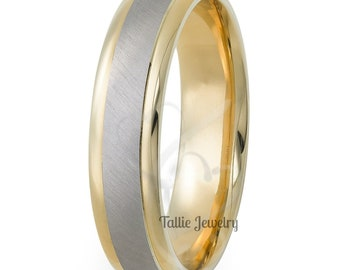 Platinum & 18K Yellow Gold Mens Wedding Bands, Platinum Mens Wedding Ring, Two Tone Gold Wedding Bands, 950 Platinum Band