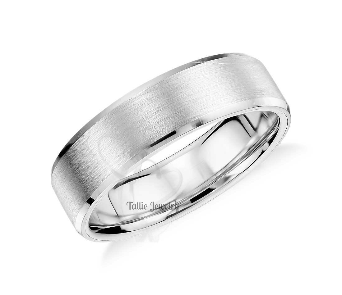 7mm 10K 14K 18K White Gold Mens Wedding Bands